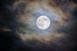 Image of a full moon on a cloudy night